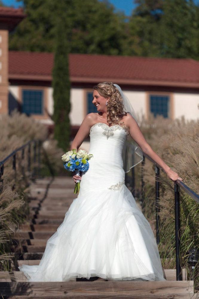wedding dress with veil flowers
