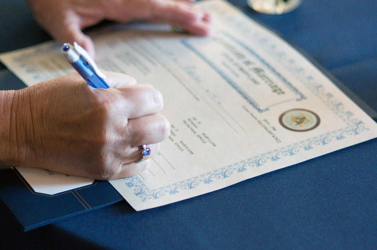 Signing a Marriage Licence MD