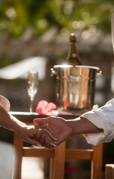 Newlyweds drinking champagne